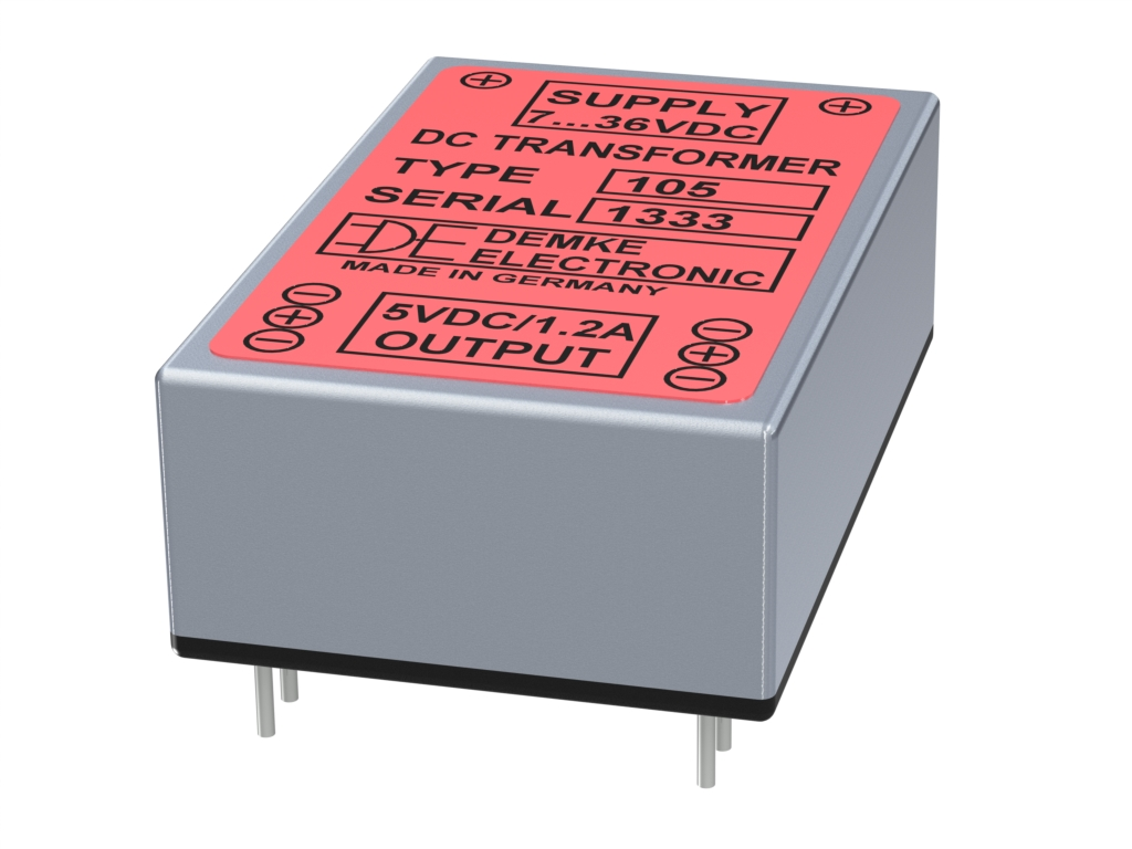 non-isolated DC/DC buck converter Typ DC-Transformer 105-5.0 with output voltage 5.0V, 6 watts and input voltage 7V to 36V