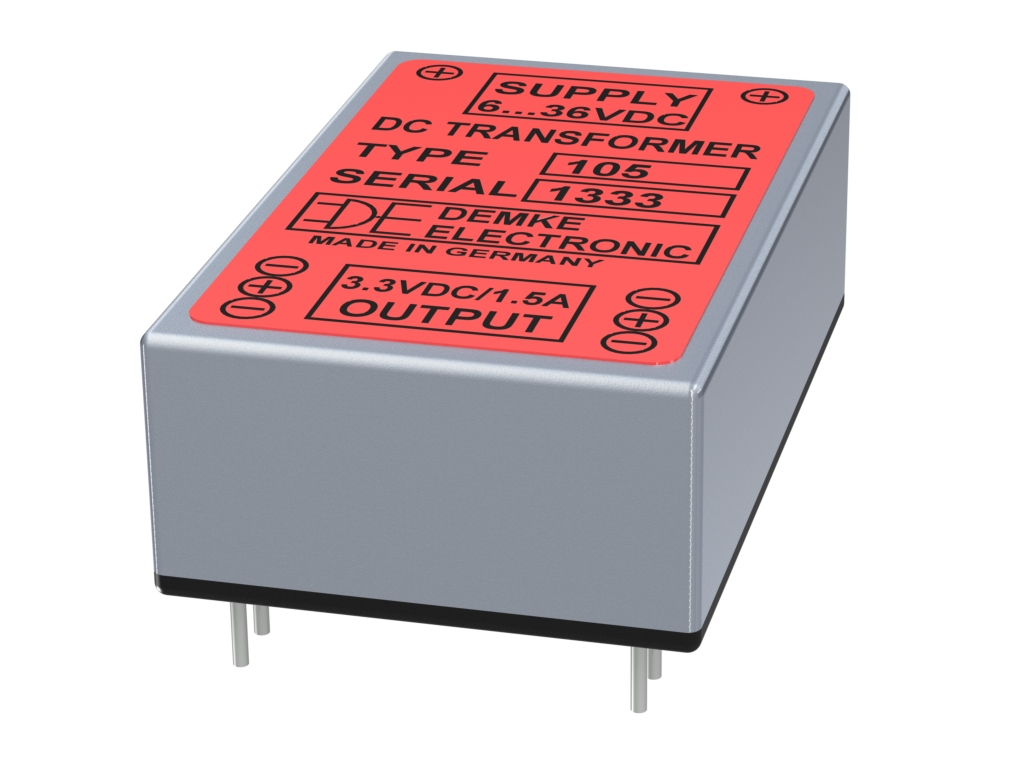non-isolated DC/DC buck converter Typ DC-Transformer 105-3.3 with output voltage 3.3V, 5 watts and input voltage 6V to 36V