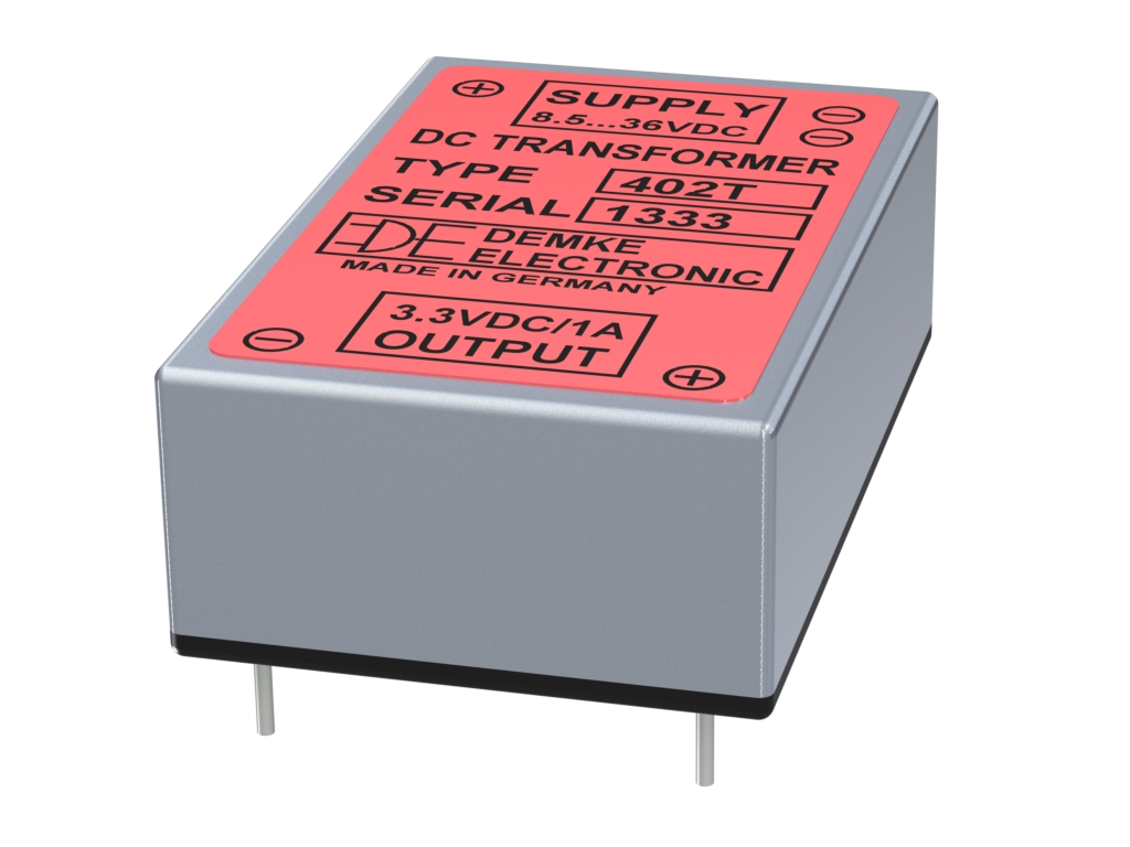 isolated DC/DC Typ DC-Transformer 402T-3.3 with output voltage 3.3V, 3 watts and input voltage 9V to 36V