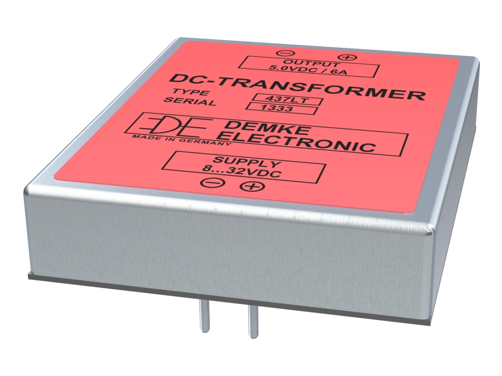 isolated DC/DC Typ DC-Transformer 437LT-5.0 with output voltage 5.0V, 30 watts and input voltage 8V to 32V